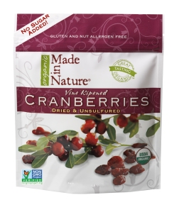 Organic dried cranberries without any added sweeteners.