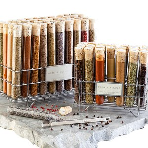 My Dean & Deluca Spice Rack. The spices are in glass test tubes, and you can order this rack in 2 sizes. http://www.deandeluca.com/herbs-and-spices/herb-spice-collections/dean-andamp-deluca-spice-rack.aspx?s_z=653